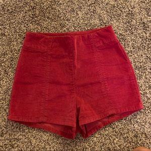 Urban Outfitters Red Velvet Shorts